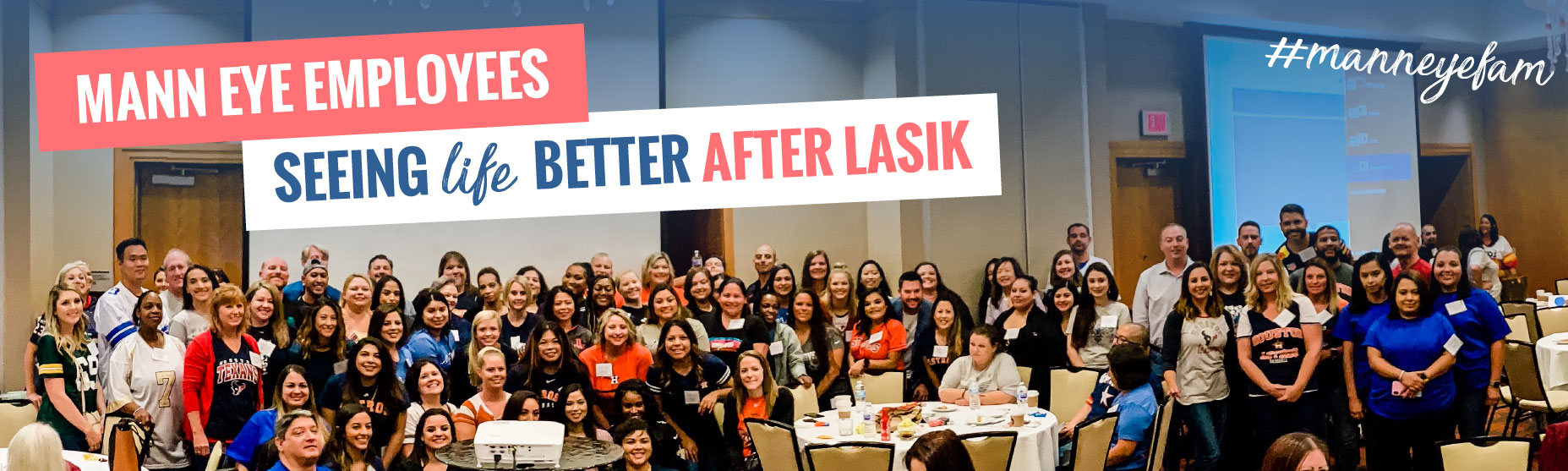 .ann eye employees who have received LASIK eye surgery gather in a room